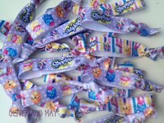 Shopkins Lilac Stripe Party Birthday Elastic Hair by OliverandMay **Lilac Shopkins Exclusive to Oliver & May**