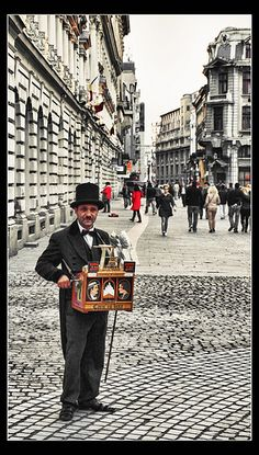 The Old Organ Grinder in Bucharest, Romania