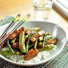 Pork Stir-Fry with Asparagus and Sugar Snap Peas