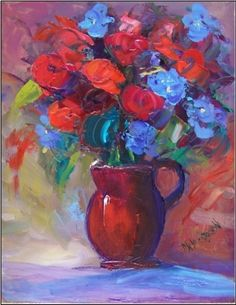 Roses and Periwinkle, painting by artist Maryanne Jacobsen