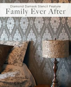 Damask Stencil Feature Wall on a Bedroom - Stenciling Ideas for Home Decor - Quora