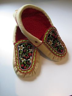Strawberry Lover Moccasins by Adriana Poulette