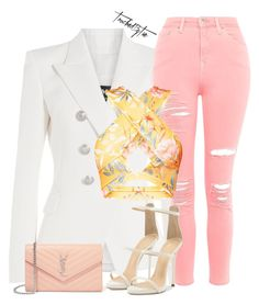 """""""Untitled #499"""" by iamtaecarter ❤ liked on Polyvore featuring Balmain, Topshop, Yves Saint Laurent and Giuseppe Zanotti"""