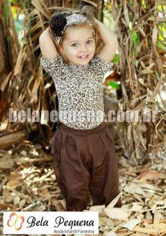 Conjunto de roupas infantil com body e calça feminina