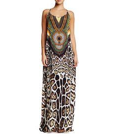 Look at this #zulilyfind! Green & Brown Racerback Maxi Dress #zulilyfinds
