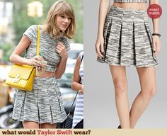 Taylor Swift's Grey space dyed crop top and matching skirt with yellow purse Celebrity Crush, Celebrity Style, Yellow Purses, Taylor Swift Style, Navel, Work Fashion, Going Out, Crushes, Fashion Inspiration