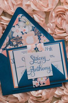 ADELE Suite // STYLED // Fancy Floral Package, gorgeous modern navy and coral wedding invitation, letterpress