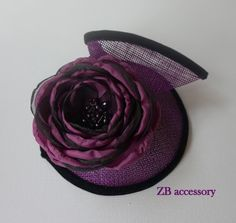 Aubergene Eggplant Fascinator, Wedding Guest Accessories, Derby Ascot Hat, Sinamay Head Piece, Handmade Organza flowers with crystals gift by ZBaccessory on Etsy