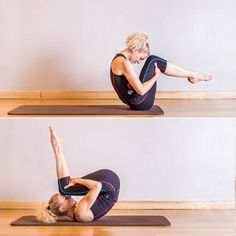 Pilates :Roling back (ou le ballon) - Pilates : 50 postures de base Le Pilates, Pilates Workout, Pilates Posture, Pilates For Beginners, Beginner Pilates, Yoga Positions, Pregnancy Health, Types Of Yoga, Back Exercises