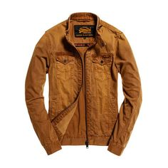 Superdry Biker Jacket (139575 IQD) ❤ liked on Polyvore featuring men's fashion, men's clothing, men's outerwear, men's jackets, brown, mens biker jacket, mens distressed denim jacket, mens jackets and mens motorcycle jackets