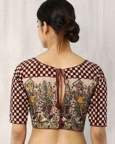 Kalamkari Blouse Designs For more designs visit…Here in this post you will find latest and beautiful 60 unique blouse back neck designs for saree. Kalamkari Blouse Designs, Cotton Saree Blouse Designs, Blouse Patterns, Kalamkari Blouses, Blouse Back Neck Designs, Simple Blouse Designs, Blouse Models, Blouse Styles, Blouses For Women