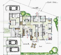 平屋の和モダンの間取り Craftsman Floor Plans, House Floor Plans, Plan Sketch, One Story Homes, Japanese Architecture, Japanese House, Story House, House Layouts, House Rooms