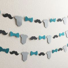 1 Black Mustache, Teal Bow Tie, Gray Onesie Paper Garland for Little Man Themed Baby Shower, Birthday Party, Baby Nursery Lil Man Baby Shower, Man Shower, Grey Baby Shower, Boy Baby Shower Themes, Baby Shower Games, Baby Shower Parties, Baby Shower Decorations, Bow Ties, Ideas
