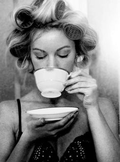 Curlers + coffee... so glam
