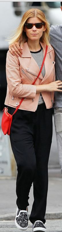 Who made Kate Mara's sunglasses and pink leather jacket that she wore in New York on June 5, 2014? Sunglasses – Ray Ban  Jacket – Rebecca Minkoff  Shoes – Givenchy