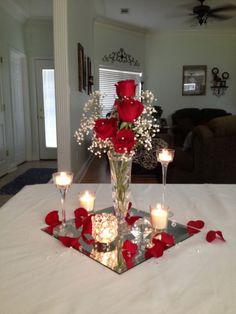 Wedding centerpieces ideas on a budget (4) Red Rose Centerpieces, Red Centerpiece Wedding, Wedding Reception Decorations On A Budget, Dollar Tree Centerpieces, Table Centerpieces, Wedding Table, Wedding Ceremony, Diy Wedding, Perfect Wedding