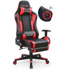 New GTRACING Music Gaming Chair Footrest Bluetooth Speakers Video Game Chair Heavy Duty Ergonomic Computer Office Desk Chair Red online - Trendytoprated Office Gaming Chair, Best Office Chair, Office Computer Desk, Office Chairs, Gaming Setup, Chaise Gaming, Stools For Sale, Video Game Music, Video Games