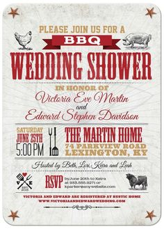 Rustic BBQ bridal/wedding/baby shower invitation from @lemonleafprints