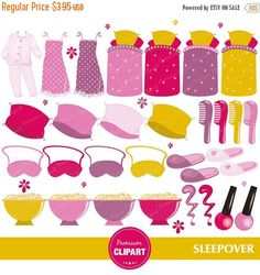 70% OFF SALE Pajama party clipart, Pajama clipart, Sleepover clipart, Slumber clipart, Sleepover party clipart, digital clipart - CA246 by PremiumClipart on Etsy