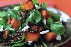 Spiced Pumpkin, Lentil, and Goat Cheese Salad