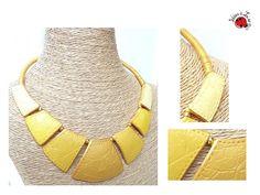 Collier Cléopâtre faux cuir jaune et doré : Collier par ideesalise
