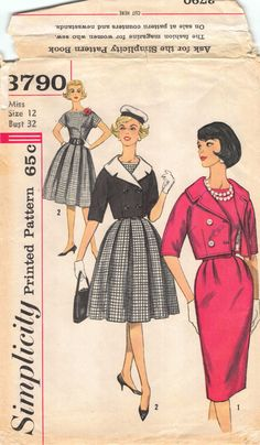 9882c0d27626 Items similar to 1961; Size 12 Bust 34; Misses Pleated Fit and Flare or  Pencil Dress with Cropped Jacket; Simplicity 3790; 1960s Vintage Sewing  Pattern on ...