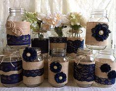 10 x arpillera rústica y encaje azul marino cubierto de tarro de masón jarrones decoración, compromiso, despedida de soltera, decoración de fiesta de aniversario de boda
