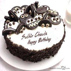 Oreo Birthday Cake Of Ricardo Birthday Cake Write Name, Happy Birthday Cake Photo, Happy Birthday Cake Pictures, Birthday Cake Writing, Friends Birthday Cake, Friends Cake, Cake Name, Beautiful Birthday Cakes, Birthday Cookies