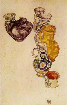 Egon Schiele- Peasant's Jugs and Ceramics (1918)