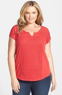 Lucky Brand Lace Patchwork Top (Plus Size)