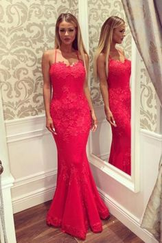Sexy Mermaid Spaghetti Straps Lace Prom Dress,Open Back Mermaid Prom Gown,Mermaid Lace Party Dress,Backless Sexy Evening Dress