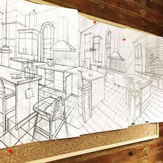 Oda perspektif mekan çizimi kara kalem çalışmaları.