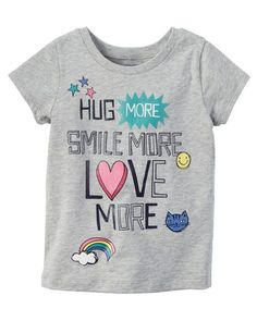 Baby Girl Love More Graphic Tee from Carters.com. Shop clothing & accessories from a trusted name in kids, toddlers, and baby clothes.