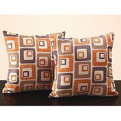 Square Orange Cube Print Throw Pillow (Set of 2)- Oxford Creek