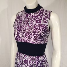 Vintage Sleeveless Mod Floral Lounging High Slit Purple and White Nehru Collar Dress XS Extra Small Early 70s Deadstock by CarolinaThriftChick on Etsy