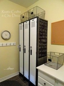 Painting lockers + chalkboard side. Cool for a pantry in the kitchen.