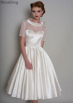 1950 s長自由奔放に生きるウェディングドレスで袖短い下100ポルカドットoネックサテンのウェディングドレスvestidosデnovias baratos
