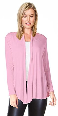 eea2191b0c Women s Basic Rayon Span Open Drape Cardigan Sweater Long Sleeves - Made in  USA  gt