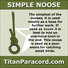 The Simple Noose is the simplest of the nooses, and used mostly as a base for further work.  It is a close relative of the overhand-knot and the Marline Hitch or Single Hitch.  If used as a noose it is best to add an overhand-knot in the end.