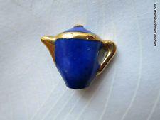 2350 – J –Cobalt Blue Ceramic Limoges Backmarked Realistic Teapot Vintage Button
