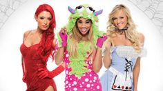 Trick or treat! The Divas are out and about for Halloween; see what Eva Marie, The Funkadactyls and the rest of WWE's leading ladies dressed up as on the spookiest night of the year.