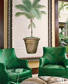 """Carleton Varney Creates a Sophisticated Caribbean-Style Home in St. Croix - """"This green is jungle green,"""" Varney says of the palm-leaf-patterned damask—from his fabric l - Tropical Home Decor, Tropical Style, Tropical Houses, Coastal Decor, Tropical Interior, Tropical Furniture, Coastal Entryway, Coastal Rugs, Tropical Colors"""