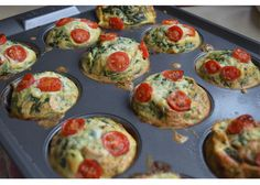 """Mini Breakfast Frittatas to Go! I make a batch in a muffin pan and stick them in the fridge, ready to be grabbed in the morning. You can make these with whatever vegetables and/or meat that you fancy. The only """"rule"""" is that you should slightly undercook the frittatas if you're going to reheat them in a microwave at a later point. Otherwise, go wild and get as creative as you want with ingredients."""