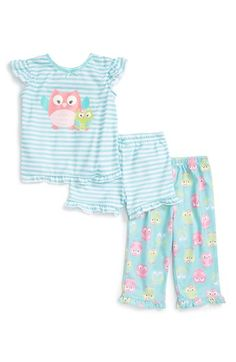 Little Me 'Owls' Three-Piece Pajamas (Baby Girls) available at #Nordstrom