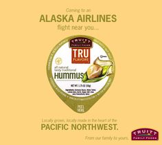 Our smooth, satisfying, Northwest-crafted hummus is coming to an Alaska Airlines flight near you! Look for our individual hummus cups in Alaska's in-flight Pacific Northwest snack pack, filled with locally made, thoughtfully packaged products from the heart of the #UpperLeftUSA.