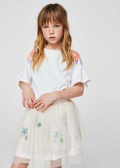 T-shirt com flor estampada - Menina | MANGO Kids Portugal