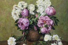stilelife,flowers,peones,oil on canvas