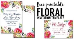 Floral Invitation Template free printable. Flower free invitation template for a birthday party, wedding, bridal shower, baby shower or spring party. Free invitation templates.