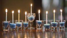 Hanukkah Treats and Treasures menorah out of dollar store glasses, inexpensive and still nice Hanukkah Crafts, Feliz Hanukkah, Jewish Crafts, Hanukkah Food, Hanukkah Decorations, Hanukkah Menorah, Christmas Hanukkah, Hannukah, Happy Hanukkah