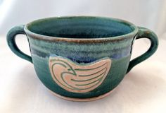 Two-handled stoneware pottery mug/ bowl- matte green and shiny blue glaze- with bird stamp appliqué (10 oz)- great gift for a child! - pinned by pin4etsy.com
